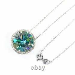 Rare 16.20 Ct Certified Blue Diamond Pendant With White Sapphires, Excellent Cut