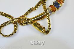 Rare 18ct Gold Sapphire & Diamond curb necklace & bar blue yellow Sapphires