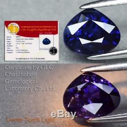 Rare! 1.61ct 7.2x6mm Pear Natural Unheated Color Change Sapphire GLC Certified
