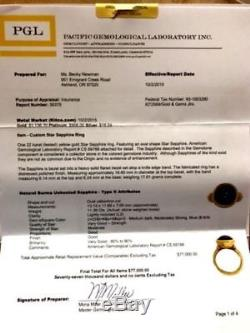 Rare 22K Yellow Gold Burmese Blue STAR SAPPHIRE Ring By Denise Roberge 11.39CTS