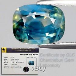Rare! 3.77ct 10x7.5mm Oval Natural Unheated Yellow Blue Sapphire Certified