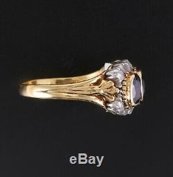 Rare Antique 18K 3 Ct. Rose Cut Diamond and Natural Blue Sapphire Ring