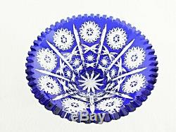 Rare Antique BACCARAT Flawless Crystal Sapphire Blue Bowl with Deeply Cut Pattern