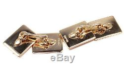 Rare! Authentic Vintage 1950's Cartier 14k Yellow Gold Sapphire Cufflinks