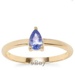 Rare Ceylon Blue Sapphire Pear Solitaire 10K Yellow Gold Ring Size R-S/9