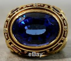 Rare Elizabeth Gage 18K Yellow Gold Charlemagne Oval Blue Sapphire Ring