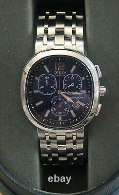 Rare New Citizen Eco-Drive H501 Men's Chronograph Blue Dial, Stainless Band