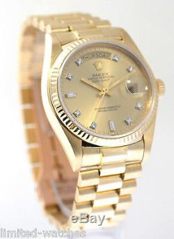 Rare Rolex Mens President Yellow Gold Factory Champagne Diamond Dial Box Booklet