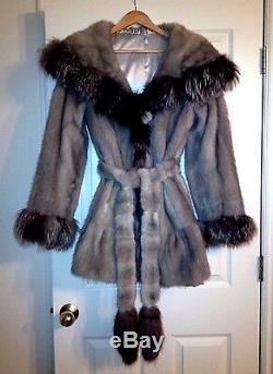 Rare Sapphire Mink Fur Coat Jacket Stroller Genuine Very Nice Condition