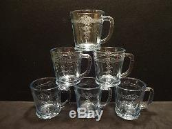 Rare Set of 6 Fire King Sapphire Blue Philbe OVEN GLASS Mugs in Mint Condition