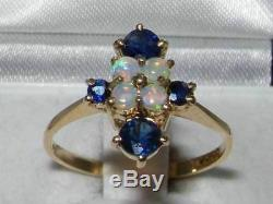 Rare Unusual 9ct Gold Very Fiery Natural Opal & Genuine Blue Sapphire Ring