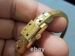 Rare Vintage Bucherer Blue Sapphires & Diamonds Cover Face Gold Plated Manual Wi