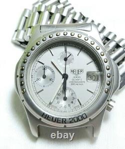 Rare Vintage Heuer 2000 Chronograph Watch Pre-Tag 38mm Silver Stardust dial