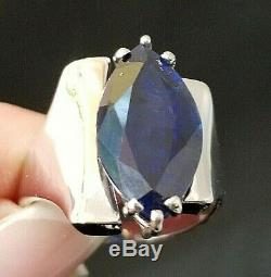 Rare Vintage Huge 12CT Marquise Sapphire 14k white gold ring