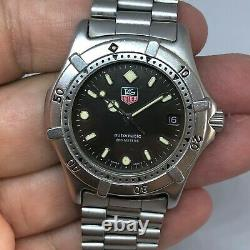 Rare Vintage Tag Heuer 2000 Black Automatic Ref 669.206f With Warranty Card