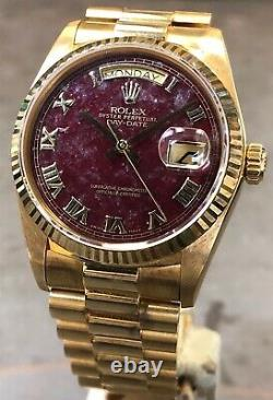 Rolex Day-date President 18038 18k Yellow Gold Rare Rubellite Stone Dial Mint