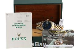 Rolex Watch Mens Datejust 16233 Two-Tone Rare Blue Roman Numerals with Paper