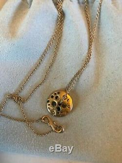 Super Rare! Polly Wales Rose Gold & Blue Sapphire Spinning Disc Pendant Necklace