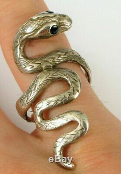 Superb Sterling Silver Victorian Snake Ring Blue Sapphire Eyes Engraved Rare