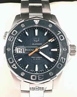 TAG Heuer Aquaracer Mens Diver Watch WAJ1112 in Exc. Cond. 500mm Rare Blue dial