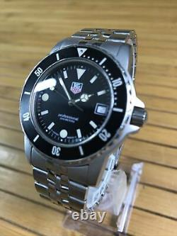 Tag Heuer Professional 1500 Mens Black Board 929.206G watch Diver Rare Vintage