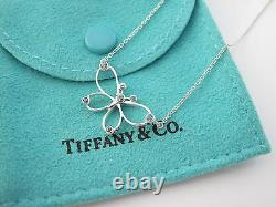 Tiffany & Co RARE MINT Silver Blue Sapphire Butterfly Necklace