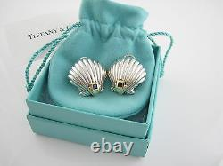 Tiffany & Co RARE VINTAGE Silver 18K Gold Blue Sapphire Shell Clip On Earrings