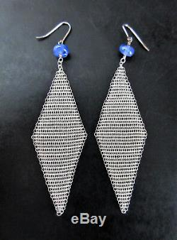Tiffany Sterling Silver Mesh Peretti Earrings with Sapphire Beads 3.25 Drop RARE