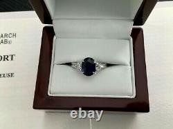 UNHEATED Blue 2.34 ct Natural Sapphire and Diamond Ring GRS Certified RARE