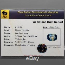 Ultra Rare! 3.28ct VS Oval Natural Unheated Yelow-Blue Sapphire Certified