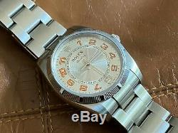 Very Rare 2007-2008 Rolex Oyster Perpetual Air-King Orange Dial Watch 114210