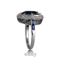 Vintage Double Halo Style Rare Cushion & Baguette Cut 3 Ct Sapphire Silver Ring