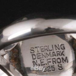 Vintage N. E. From Sterling Silver Ring with Sapphire. MADE IN DENMARK. RARE