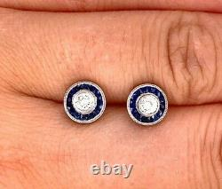 Vintage Natural Diamond and Blue Sapphire Calibre Platinum Earrings RARE FIND