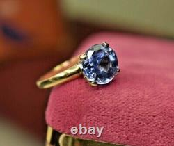 Vintage Rare 14K yellow gold 3.4 ct natural light blue sapphire solitaire ring